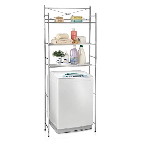 CARO-Möbel Toilettenregal MARSA Waschmaschinenregal Badezimmerregal Bad WC Regal mit 3 Ablagen in Chrom -