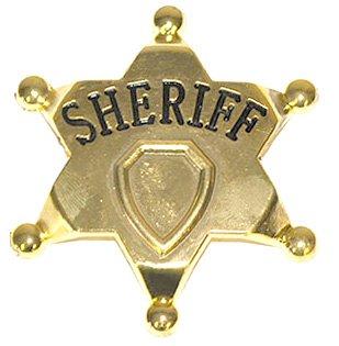 Halloweenia - Cowboykostüm Sheriffstern Metall Brosche zum Basteln, 7cm, Gold
