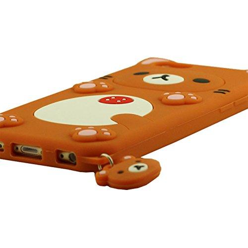 Apple iPhone 6S / 6 4.7 inch Coque Case Rose, Animal Cartoon Style Original Design Mignonne 3D Ours Silicone Gel Doux Housse de Protection + Silicone Titulaire orange