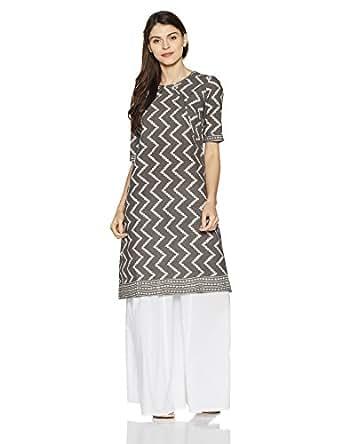 Fabindia Women's A-Line Cotton Kurta (10465450_Grey_M)