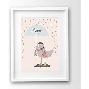 Kinderposter ungerahmt, Vogel mit Wunschname, Name personalisiert, Geschenk Taufe Geburt