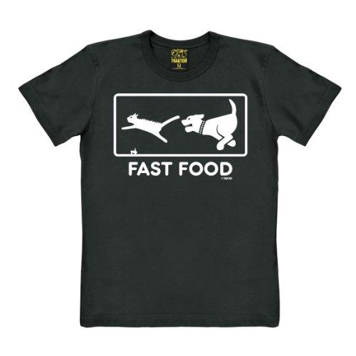 Fast Food T-Shirt - Fun Shirt - Hund jagt Katze T-Shirt - Rundhals T-Shirt - Original T-Shirt der Marke TRAKTOR®, Größe (Kostüme Für Wortspiel Kinder)