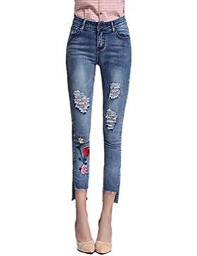 Anguang Mujer Flaco Montado Alto Cintura Jegging Pantalones Bordado Arrancado Mezclilla Pantalones