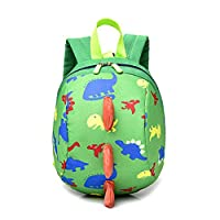 RUISSEN Kids Backpack Animal Cartoon Dinosaur Safety Anti-Lost Strap Rucksack for Toddler Boys Girls Children with Reins (Green)