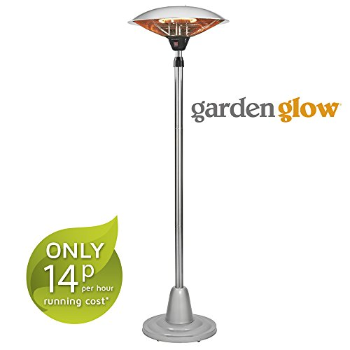 Garden Glow 2000w Free Standing Patio Heater Height Adjustable Outdoor Halogen Heater with 2 Power Settings