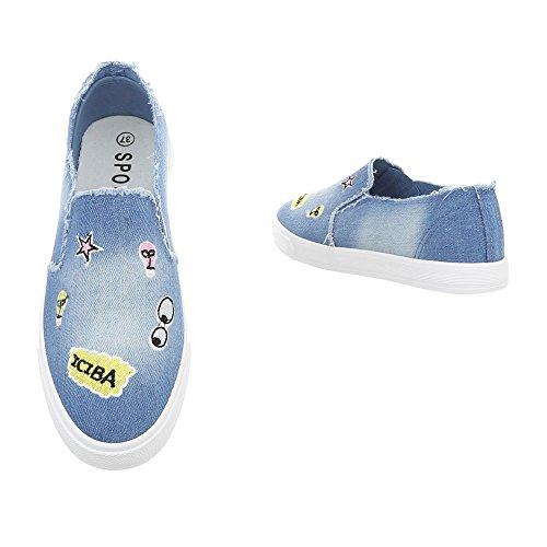 Ital-Design Sneakers Low Damenschuhe Sneakers Low Sneakers Freizeitschuhe Blau R57