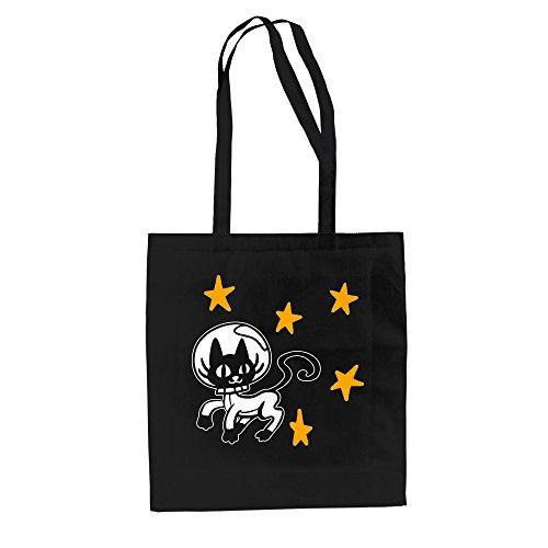Baumwolltasche Jutebeutel - Space Cat royalblau-weiss