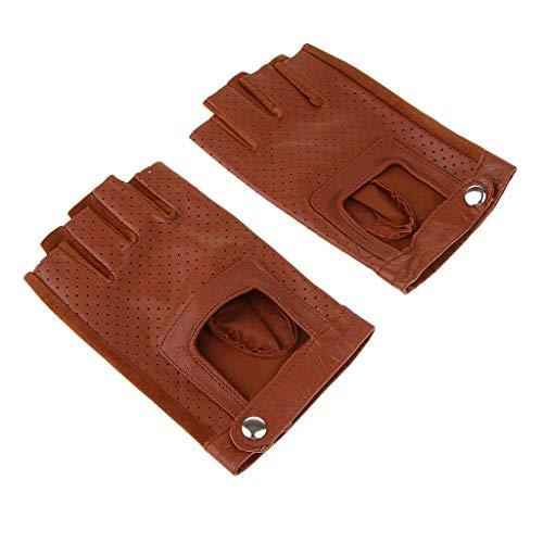 Fenteer Herren Damen Leder Handschuhe ohne Finger Lederhandschuhe Warme Winter Fahrradhandschuhe Laufhandschuhe Sporthandschuhe - Braun, L -