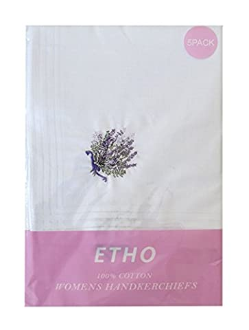 5 Pack Womens/Ladies White Handkerchiefs With Lilac Lavender Embroidery, 100% Cotton