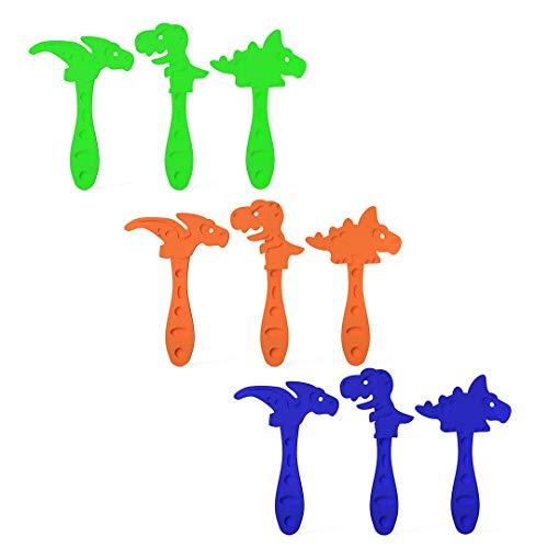 3DREAMS 9er Set Dinosaurier Joghurt-Selbstmacheis-Stäbchen Eissticks Dinos bunt EIS Sticks Eisstäbchen ideal für Kinder-Geburtstage DIY EIS am Stiel aus Bio-Kunststoff Made in Germany
