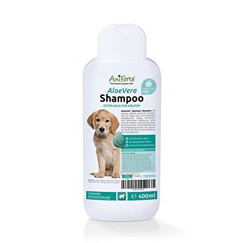 AniForte Aloe Vera Welpen Shampoo mild 400ml, Hundeshampoo, parfümfrei, Naturprodukt Shampoo speziell für Welpen, Junghunde und empfindliche Hunde, sorgt für glänzendes und leicht kämmbares Fell