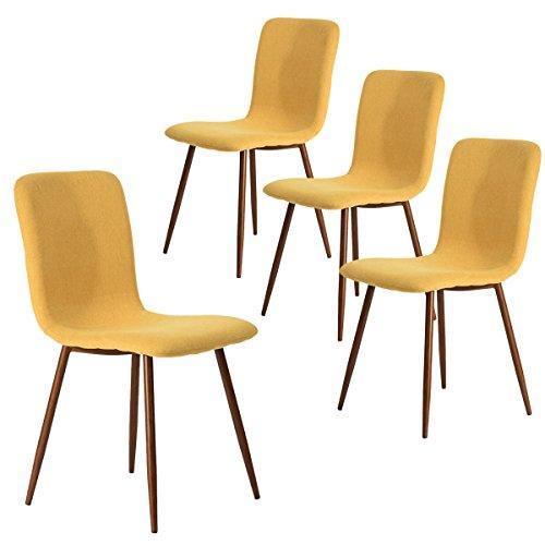 Coavas Esszimmerstühle 4er Set Küchenstühle Schöne Form Bequeme Stühle mit stabilen Metallbeinen für Esszimmer, Gelb