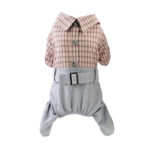 Suit Leisure Kostüm - MegOK Pet Jumpsuit Dog Leisure Plaids Shirt & Pant 4-Legged Clothes Set for Dog Boy Dog Clothes Suit Lovely,P,M,China