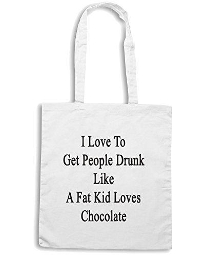 T-Shirtshock - Borsa Shopping BEER0235 I Love To Get People Drunk Like A Fat Kid Loves Chocolate Bianco