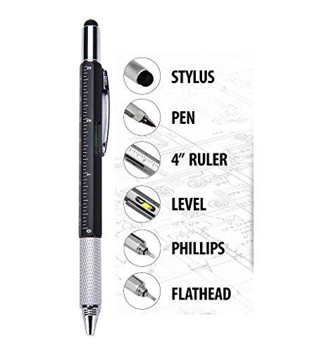 Deals&Bargain - Ottima penna stilo multifunzione 6in 1, touch screen, biro con righello, livella e cacciavite