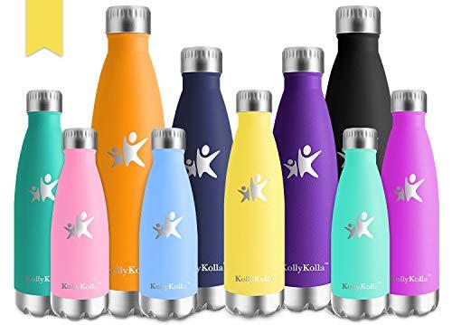 KollyKolla Bottiglia Acqua in Acciaio Inox, 350ml Senza BPA Borraccia Termica, Isolamento Sottovuoto a Doppia Parete, Borracce per Bambini, Scuola, Sport, All'aperto, Palestra, Yoga,Giallo Chiaro