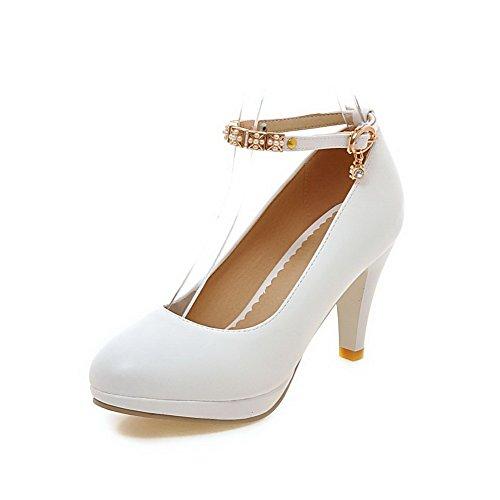VogueZone009 Damen Rein Hoher Absatz Schnalle Weiches Material Rund Zehe Pumps Schuhe Weiß