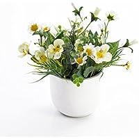 Lot 2 x Pensées et marguerites décoratives TAMINA en pot, blanc-jaune, 20 cm, Ø 23 cm - 2 pcs Composition artificielle / Petite plante fleurie - artplants