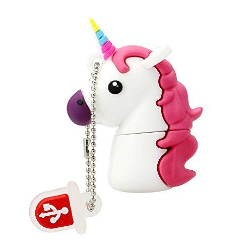 Novedad Flash Memory Stick Blanco Unicornio Shape Design 32GB USB 2.0 Flash Drive Cute Horse Thumb Drive Almacenamiento de Datos Pendrive Cartoon Jump Drive Regalo