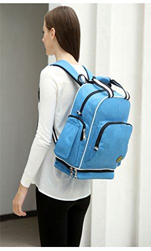 Chilsuessy Schwangerschaft Tasche Pflegetasche Windeltasche Babytasche Wickeltasche Multifunktionale Mama Handtasche mit Befestigung für Kinderwagen, Rot Hellblau