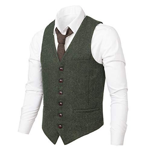 VOBOOM VOBOOM Herren Slim Fit Tweed Anzug Premium Weste aus Wollmischung mit Fischgrätmuster MEHRWEG