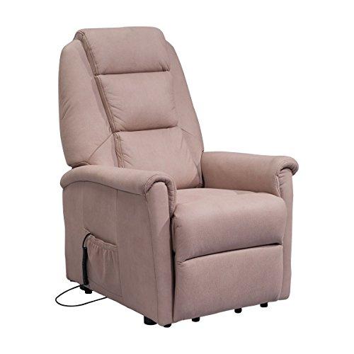 Sessel mit Aufstehhilfe DORTMUND, 2 Motoren. Small. Bezug aus Elefantenhaut-Mikrofaser in der Farbe Camel.