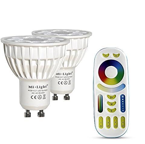 LIGHTEU®,2 x 4W GU10 RGB + CCT LED Scheinwerfer WiFi LED Lampe RGB Farbe + WarmWeiss+KaltWeiss original Mi-light 4 Watt Dimmbar mit 4 zonen Fernbedienung
