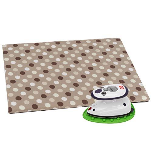 SEMPLIX Bügel Set - Bügelunterlage mit rutschhemmender Rückseite 30 x 40 cm, Mini Bügeleisenablage 10,5 x 15,5 cm, Prym Mini Dampf Bügeleisen (beige-braun/grün)