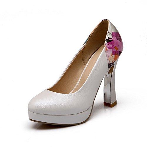 AgooLar Femme Tire à Talon Haut Pu Cuir Couleurs Mélangées Rond Chaussures Légeres Blanc