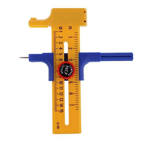 MagiDeal Kompass Kreis Cutter Papier Gummi Trimmer Kreis Schneidwerkzeug 1cm-15cm