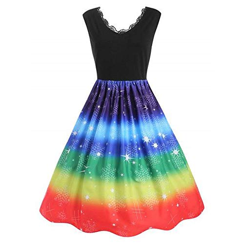 eihnachten Abendkleider Party Kleider V-Ausschnitt Rockabilly Regenbogen Kleid Knielang Festliche Kleid Retro Bodycon Swing Kleid ()