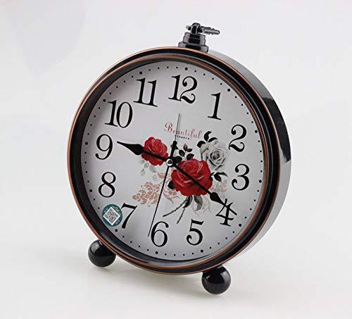 Luxuryclock Europäische Retro-Uhren Und Uhren Nostalgie Kleine Sitzuhren Stille Schlafzimmer Kreative Tischuhren Und Wohnzimmer Pendel Wecker, Red Rose Black