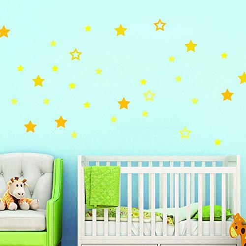 Stickers adhésifs Enfants | Stickers Autocollants 35 étoiles jaunes - Décoration murale chambre bébés | 20 x 30 cm