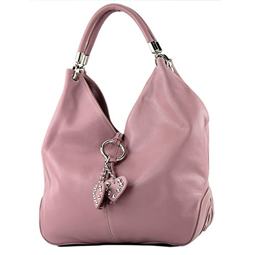 modamoda de - ital Handtasche Shopper Schultertasche Leder 330, Präzise Farbe:Altrosa