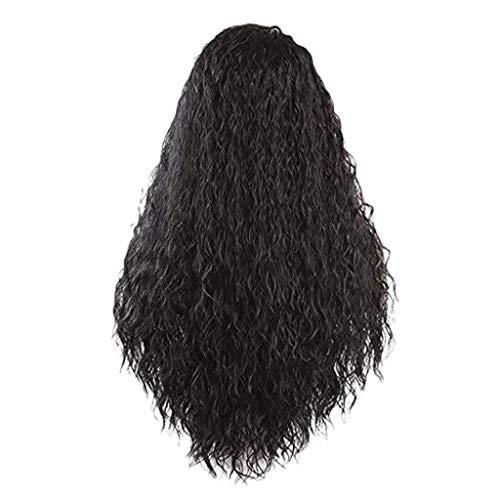 Bluestercool Brasilianische vordere Spitze voll lockige perücke, lange Wellen schwarze natürlich aussehende Frauen perücken, 24 ()