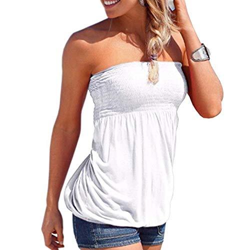 Damen Urlaub ärmellos Tube Top trägerlos Shirt Falten Print Damen Tops Gr. X-Large, weiß -