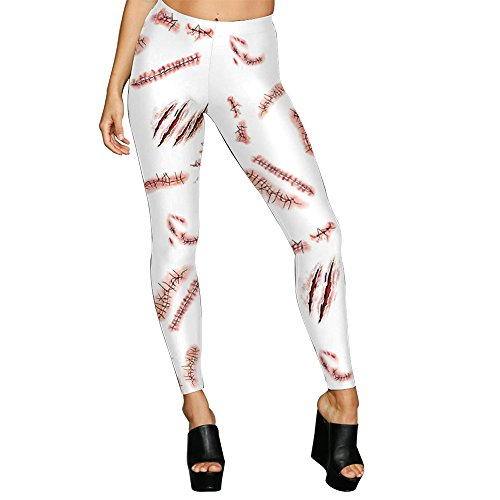 MAOYYMYJK Yoga-Hose Für Damen Halloween Strumpfhosen Frauen Ball Party Narbe Drucken Hosen (Fördert Ball Halloween)