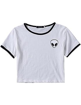 Camisetas Cortas Manga Corta Mujer Camiseta de Rayas Camisas de Mujer Camisetas de Tirantes Anchas Remeras Camisa...