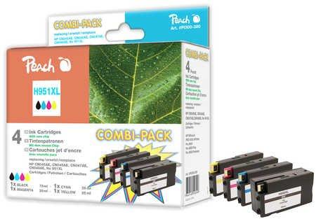 Peach H951XL bk, c, m, y Spar Pack Druckerpatronen mit Chip kompatibel zu HP Nummer 950XL