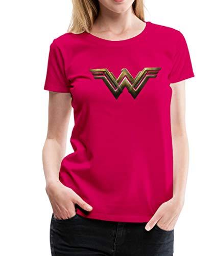Spreadshirt Warner Bros Wonder Woman Logo Frauen Premium T-Shirt, 3XL (46), Dunkles Pink -