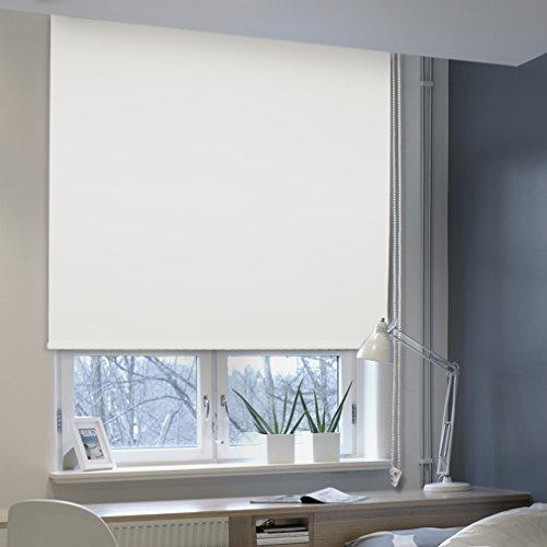 AuraLum Estor Enrollable Opaco Liso, Fijación sin Perforar, para Dormitorio, Oficina, Salón, Color Blanco, 120×175cm