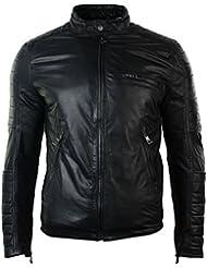 Hommes Slim Fit noir délavé Biker Jacket réel en cuir zippé rembourré Design Rétro
