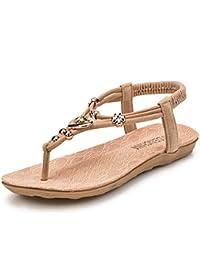 Hot Sale!Sandalen Damen, Sonnena Frauen Summer Bohemia Sweet Beaded Sandals Clip Toe Sandals Beach Shoes Sandalen Loafers Schuhe Clip Toe Bequeme Strandschuhe Berufssandale Freizeitschuhe Abendschuhe (Sexy Schwarz, 38)