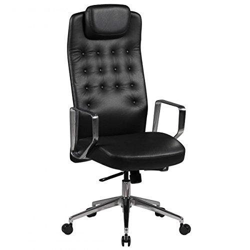Amstyle Fauteuil Edison en cuir véritable couleur Noir Chaise de bureau pivotante cuir chaise de bureau à 3 Mécanisme synchrone