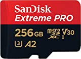 Carte Mémoire microSDXC SanDisk Extreme PRO 256 Go + Adaptateur SD avec Performances Applicatives A2 jusqu'à 170 Mo/s, Classe 10, U3, V30