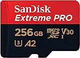 SanDisk Extreme Pro 256GB microSDXC Class 10 Speicherkarte mit SD-Adapter, Schwarz/Rot