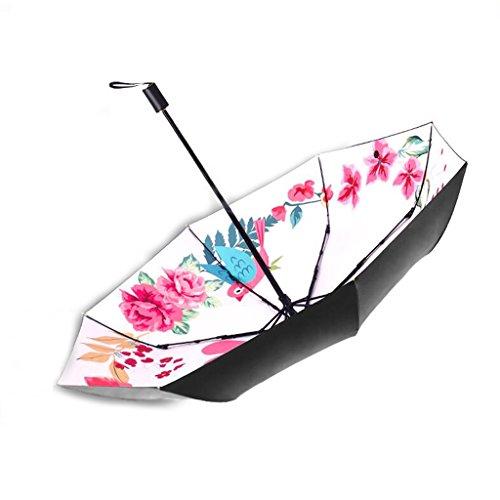 CKH Parapluie Créatif Fleur Magpie Petite Ultra-Léger Pare-Soleil UV Parapluie Parapluie Double Parapluie à Trois Utilisation Parapluie