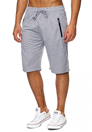 Max Men Herren Sweat Shorts Kurze Sport Jogging Bermuda Pants H1830,Hellgrau,XXL