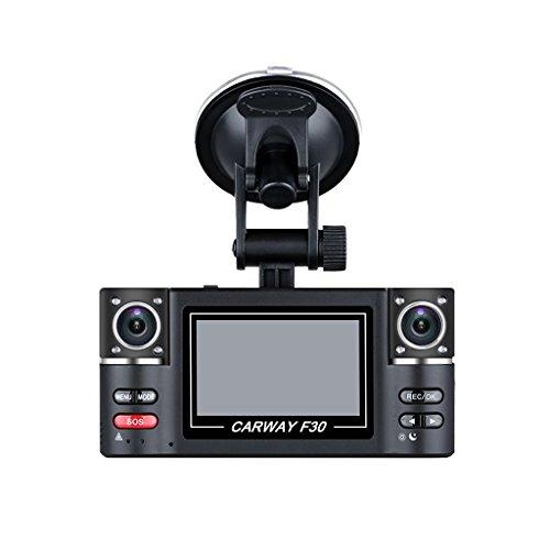 """DVR FHD Videocamara para Coche (Dual Camara, Rotación 180 Grados,5MP, Pantalla 2.7"""", 1080P, Visión Nocturna), Negro"""