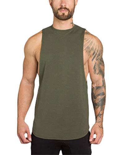 Herren Tank Top Rundhalsausschnitt Tankshirt T-Shirt Unterhemden Ärmellos Muskelshirt Fitness Weste Grün L